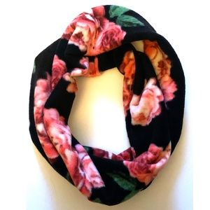 Rose and black soft warm fleece infinity scarf